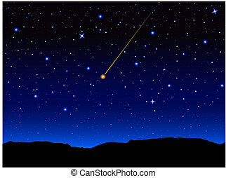 Starry sky and mountain landscape. Vector illustration.