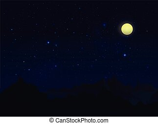 Starry Sky At Night - Landscape with stars, moon and...