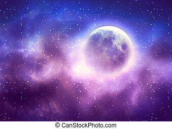 Starry sky background and full moon