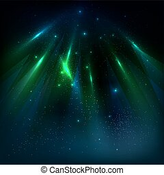 Starry sky background with color luminous rays. Vector illustration