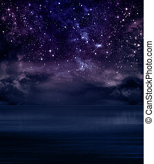 starry sky in the open sea