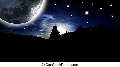 Mystical figure - Starry Sky. Mystical figure in the rays of...