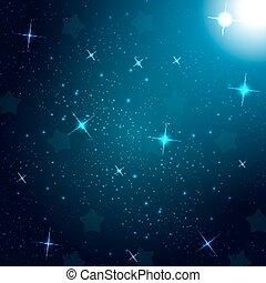 Starry Sky on Blue Background. Vector Illustration.
