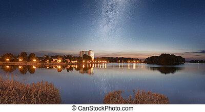 Starry sky over city quay