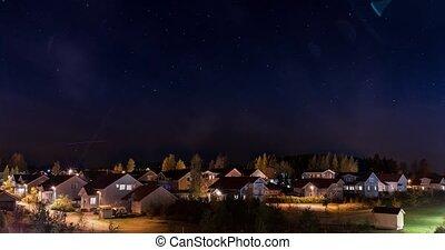 Starry sky over houses timelapse video Kerava, Finland - ...