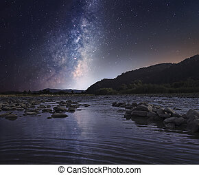 Starry sky over mountain river - Majestic Milky Way galaxy...