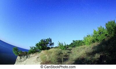 Starry sky over the reservoir in Kremenchuk. Mountain Piviha...