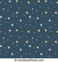 Starry Sky Seamless Pattern Vector Illustration