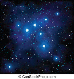 Vector illstration representing deep space with lots of little stars and couple of closer and bigger.