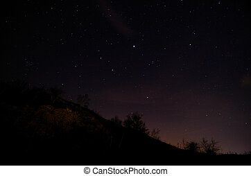 starry sky with mountain