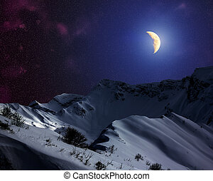 Starry sky with the Moon above the snow-capped mountains