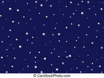 Illustration of a night background - Dark blue sky with many stars of different dimensions