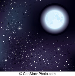 starry, vektor, himmelsgewölbe, mond
