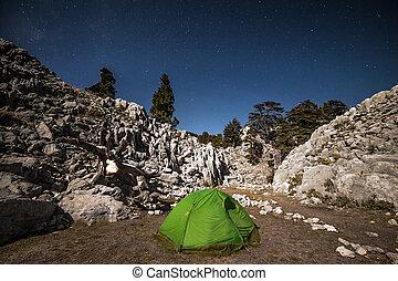 starry, zelt, camping, night., unter