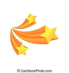 stars., 三, 插圖, 背景。, 矢量, 白色, 敬禮