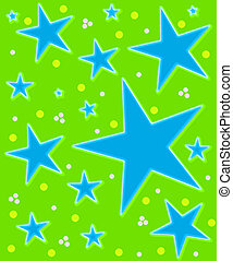 Stars Abound Watercolor green and blue