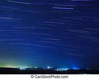 Stars above the city. Time Lapse. 4x3