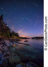 Stars Along Island Shore - Galiano Island Shore at Night ...