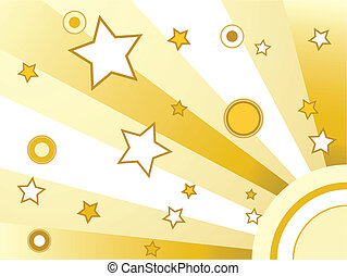 Stars and circles background golden retro background