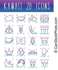 stars and kawaii icon set, gradient line style