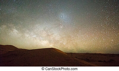 stars and miky way over desert