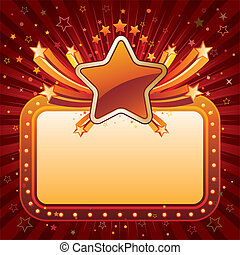 stars and movie neon sign - vector illustration of star...