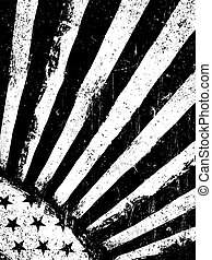 Stars and Rays. Monochrome Negative Photocopy American Flag Background. Grunge Aged Vector Template. Vertical orientation.