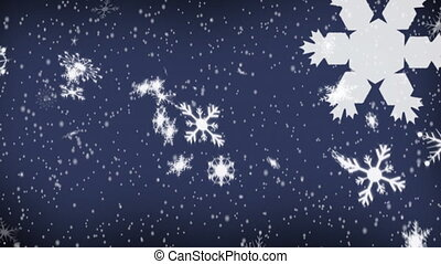 Stars and snowflakes falling on blue background