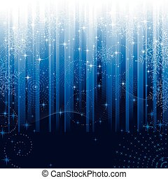Stars and snowflakes on blue striped background. Festive pattern great for winter or christmas themes.