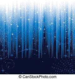 Stars and snowflakes on blue striped background. Festive...