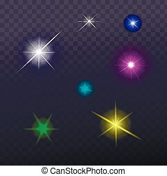 Stars and sparkles - collection of design elements on...