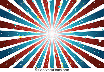 Background of star and stripes in blue, red and white combination.
