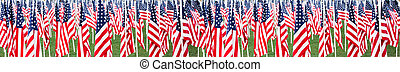 Stars and stripes flags in a panoramic ideal for a banner or border