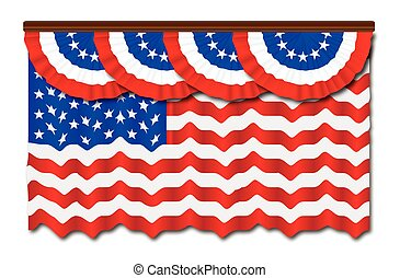 Stars And Stripes Flag And Bunting - A row of Stars and...