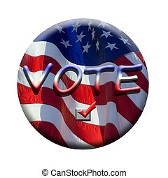 stars and stripes flying in the wind on deep blue sky nice background for a patriotic display looks like a badge or button to remind you to vote