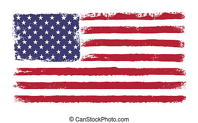 Stars and stripes. Grunge version of American flag with 50...