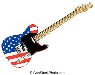 Stars And Stripes Guitar - A classic electric guitar with...