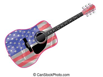An acoustic guitar with the Stars and Stripes flag isolated over a white background.