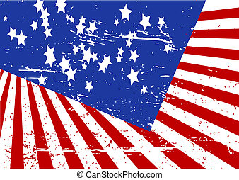 Stars and stripes - Editable grunge vector illustration of...