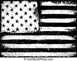 Stars and stripes. Monochrome Negative Photocopy American Flag Background. Grunge Aged Vector Template. Horizontal orientation.