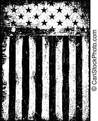 Stars and Stripes. Monochrome Negative Photocopy American...