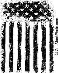 Stars and Stripes. Monochrome Photocopy American Flag...