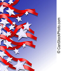 3 Dimensional abstract illustration of Stars and Stripes for patriotic background for 4th of July, Memorial, labor, veterans day, or other National Holiday.