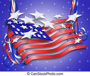 Stars and Stripes Patriotic Background - 3 Dimensional...