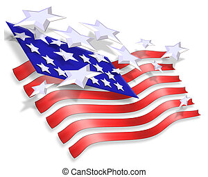 3 Dimensional illustration of Stars and Stripes for patriotic background for 4th of July, Memorial, labor, veterans day, or other National Holiday.