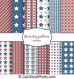 Stars and stripes pattern seamless patterns set - Set of...