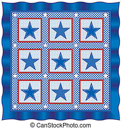 Stars and Stripes Quilt - Old fashioned American patriotic...