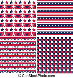 illustration set of stars and stripes usa colors, seamless pattern