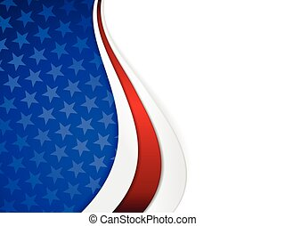Patriotic background with wavy pattern and space for your text. Stars on dark blue background with wavy stripes in red and white make it a great backdrop for USA themes, like Independent Day, etc.