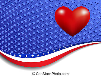 Stars and Stripes with a Heart - A large patriotic...